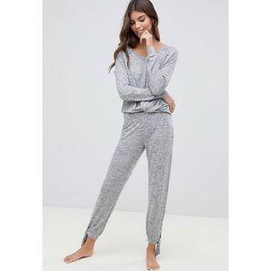 Ugg Fallon Pajama Pants Sz XS Gray Soft Tie Ankle
